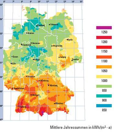Słoneczna mapa Niemiec